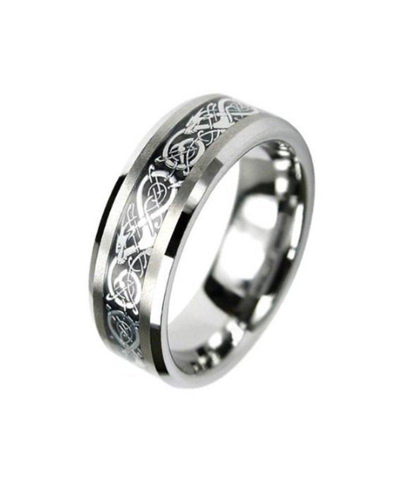 Tungsten Carbide Flat Comfort Fit Men Celtic Dragon Black Inlay 8mm Wedding Ring Band Size 8