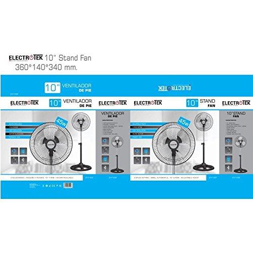 Ventilador de pie DE 10 DE di/ámetro peque/ño y Potente Altura Regulable,Motor silencioso,Potencia 45W.ELECTROTEK ET-F10SF