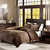 Cal King Vs Eastern King Size Tuweep Brown Ultra Plush Corduroy Comforter and Decorative Shams Collection COMF-18208645