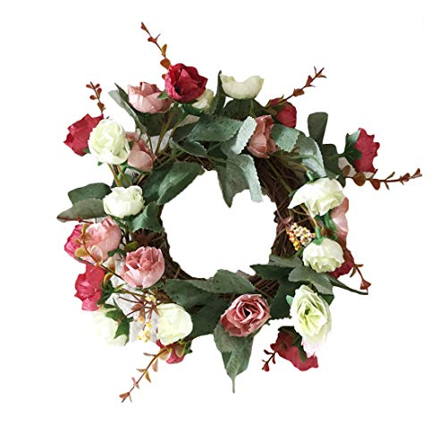 CShopping Artificial Rose Floral Twig Wreath, 9 Inch Handmade Flowers Garland Front Door Wreath for Home Party Wall Décor