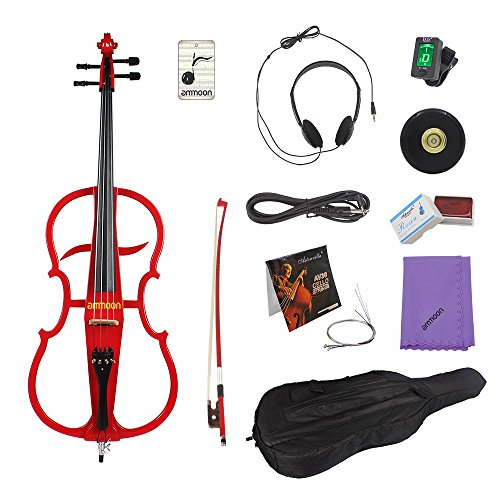 ammoon 4/4 Full Size Solid Wood Electric Cello Violoncello Maple Wood body Ebony Fittings in Style 1 with Tuner Headphone Gig Bag Red by ammoon