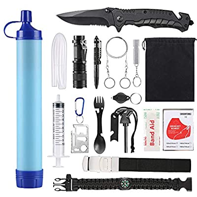 SUPOLOGY Emergency Survival Gear Kits -23 in 1 Outdoor Tactical Tools for Hiking/Adventures/Climbing Necessary - Lifestraw,Flashlight,Tactical Pen,Spoon Fork,Survival Bracelet, Fire Starter ect. from Supology
