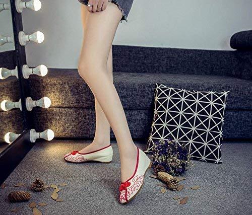 Moontang Bestickte Schuhe Schuhe Schuhe Sehnensohle Ethno-Stil weibliche Stoffschuhe Mode bequem lässig rot 36 (Farbe   - Größe   -) 8af167
