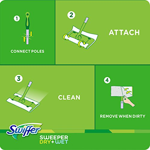 Swiffer Sweeper Cleaner Dry and Wet Mop Starter Kit for Cleaning Hardwood and Floors, Includes: 1 Mop, 7 Dry Cloths, 3 Wet Cloths>