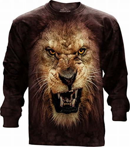 Tee Lion Face - The Mountain Big Face Roaring Lion Long Sleeved Adult Longsleeve Small T-Shirt