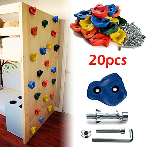 WayToStore 20 PCS Textured Climbing Holds Rock Wall and 40 PCS 8mm zinc Plated Bolts & Nuts