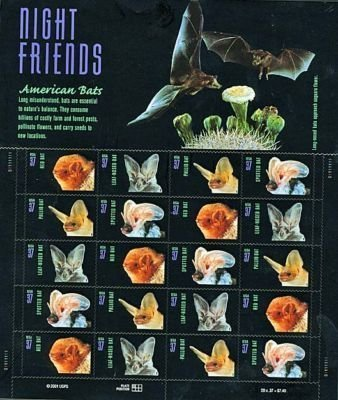 Halloween Postage Stamps (USPS Night Friends American Bats Sheet of Twenty 37 Cent Stamps Scott)