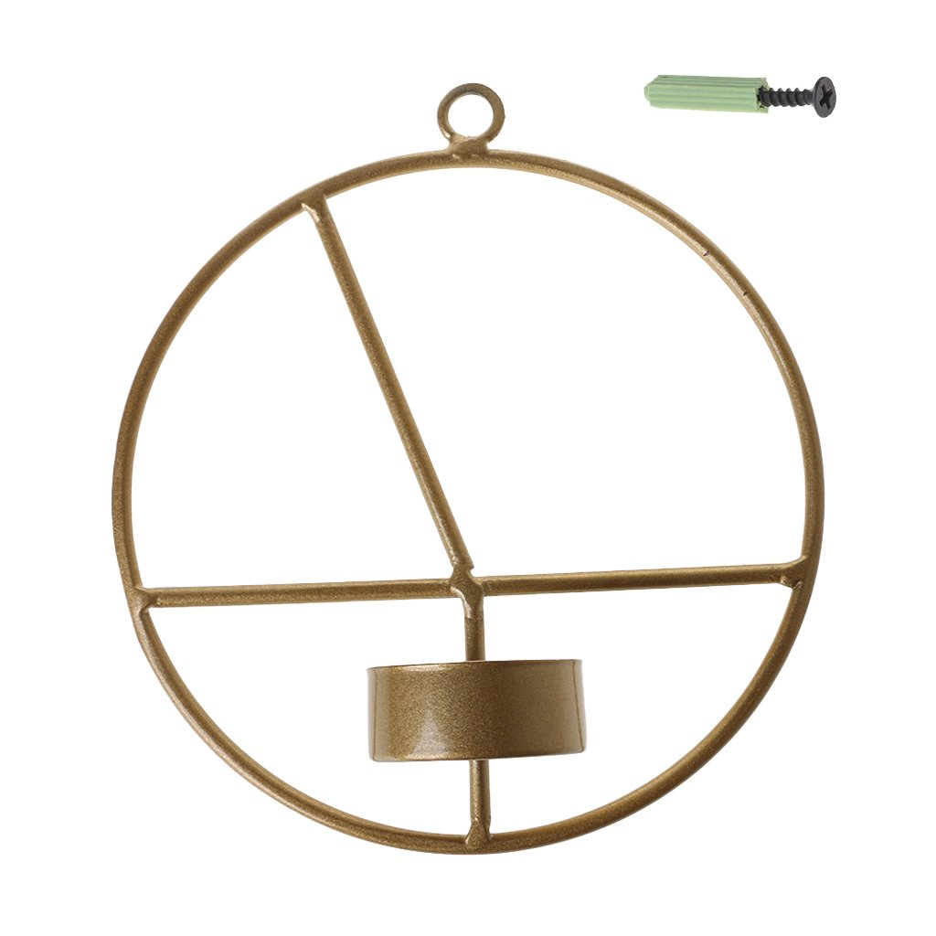 LANDUM Nordic Style 3D Geometric Round Candlestick Metal Wall Candle Holder Sconce Hot Gold 1