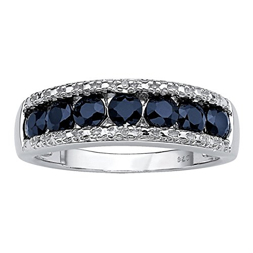 Genuine Round Blue Sapphire and Diamond Accent Platinum over .925 Sterling Silver Ring (Channel Ring Platinum 4mm Diamond)