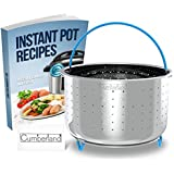 Steamer Basket for 6QT or 8QT Instant Pot Pressure Cooker   304 Stainless Steel and FDA Silicone on Handle and Legs   Steam Vegetables, Eggs, Seafood   Free Cumberland eCookbook including 40+ Recipes