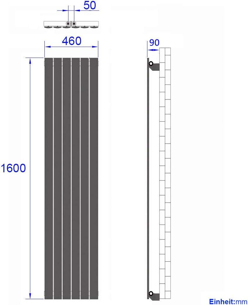 WELMAX Heizk/örper Flach Design Vertikal Paneelheizk/örper 1600x460 mm Wei/ß Einreihig Mittelanschluss Heizung