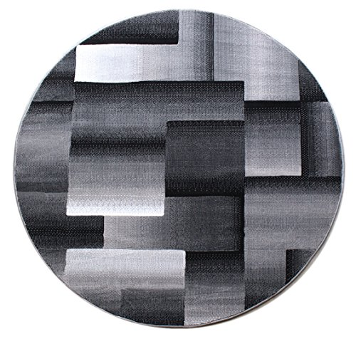 - Masada Rugs, Modern Contemporary Round Area Rug Grey Black (5 Feet X 5 Feet) Round