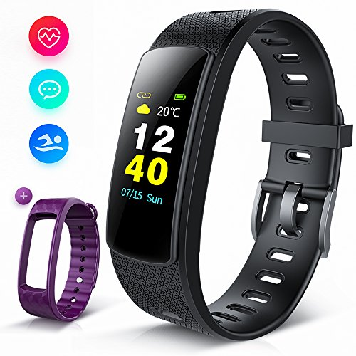 Fitness Tracker Color Screen, iWOWNFit i6HRC Fitness Watch : Activity Tracker Smart Band with heart rate monitor, Sleep Monitor, Smart Bracelet Pedometer Bluetooth Wristband with Replacement Band