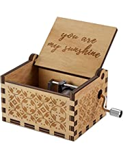 You are My Sunshine Wood Music Boxes,Vintage Hand Crank Carved Musical Box for Birthday/Christmas/Valentine's Day (You are My Sunshine)
