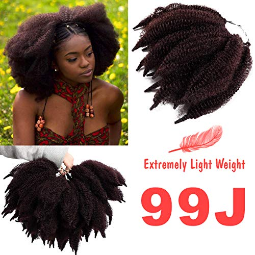 "Silike 7"" New Mali Bob Crochet Hair For Beauty (2 Bundles Per Pack) Afro Kinky Marlybob Crochet Braids Hair Extension (U99J)"