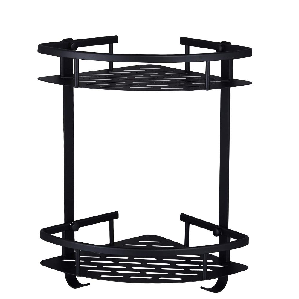 HOOMTAOOK Corner Shower Caddy Bathroom Shelf Wall Mount Rustproof Nail Free Glue+Double Sided Adhesive Heavy Duty No Drill 2 Tiers Space Aluminum with 2 Hooks for Kitchen Storage(Black) by HOOMTAOOK