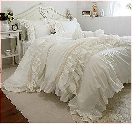 Copripiumino Shabby.Set Matrimoniale Biancheria Letto Shabby Avorio Vestiletto 160x200