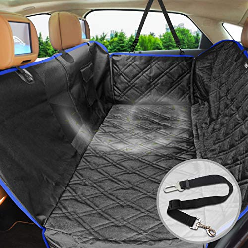 FRiEQ Dog Car Seat Covers for Back Seat of Cars/Trucks/SUV,Waterproof & Scratch Proof & Nonslip Backing & Hammock with Mesh Window, Side Flaps and Dog Seat Belt