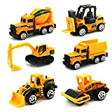 Toys : JellyDog Inertia Toy Early Engineering Vehicles Friction Powered Kids Dumper,Bulldozers,Forklift,Tank Truck,Asphalt Car and Excavator 6 Set Toy for Children Kids Boys and Girls