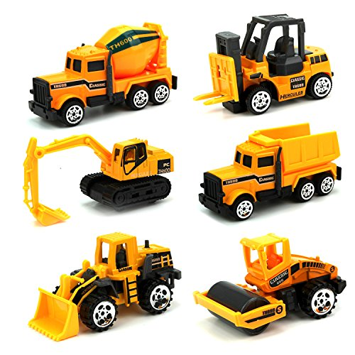 JellyDog Inertia Toy Early Engineering Vehicles Friction Powered Kids Dumper,Bulldozers,Forklift,Tank Truck,Asphalt Car and Excavator 6 Set Toy for Children Kids Boys and Girls (Home Made Halloween Customs)