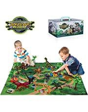 TEMI Dinosaur Toy Figure with Activity Play Mat & Trees, Educational Realistic Dinosaur Playset to Create a Dino World Including T-Rex, Triceratops, Velociraptor, for Kids, Boys & Girls