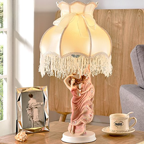 Warm Pink Table Lamp Bedroom Bedside Lamp Romantic Princess Children Room Lace Girl Blue Small Table Lamp Home Decoration ( Color : Red ) by Crystal