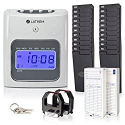 Lathem 400E-KIT Top-Feed Electronic Time Clock Bundle Kit, Includes 200 Lathem E14 Time Cards, 2 Ten Pocket Time Card Racks, 2 Ribbons and Keys