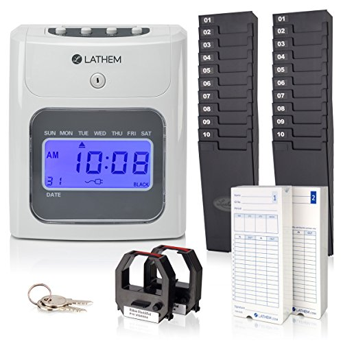 Lathem 400E-KIT Top-Feed Electronic Time Clock Bundle Kit, Includes 200 Lathem E14 Time Cards, 2 Ten Pocket Time Card Racks, 2 Ribbons and Keys (400E-KIT)