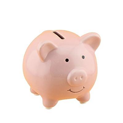 VORCOOL Hucha de Cerámica de Cerdo Caja de Ahorro de Moneda de Dinero Regalo de Niños (Rosa): Hogar