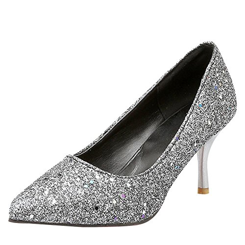 Mee Shoes Damen Stiletto Pailletten ohne Verschluss Pumps Silber
