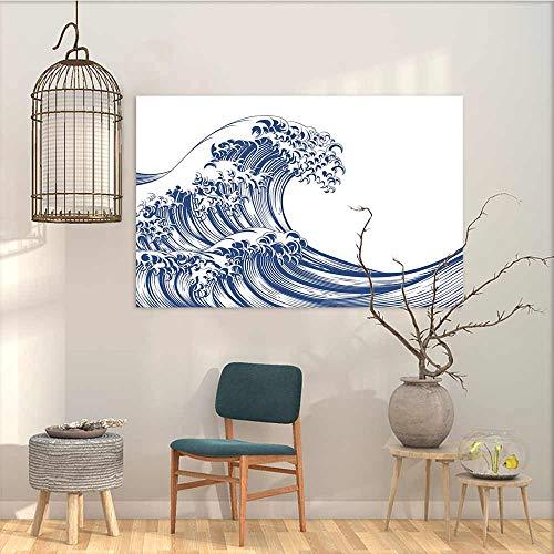 Canvas Wall Art Sticker Murals Japanese Wave Oriental Vintage Great Wave Monochrome Kanagawa Inspired Antique Art Oil Canvas Painting Wall Art Navy Blue White W23 xL19