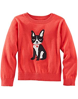 Oshkosh Girl's Puppy Ski Lodge Sweater, Coral