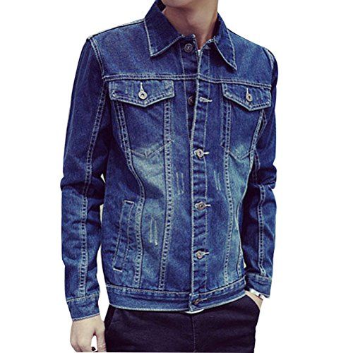 Denim Long calle Fashion ropa Down Azul Jacket Button Sleeve Jean Mens Zhhlinyuan de Plus Size wxqYEfa8
