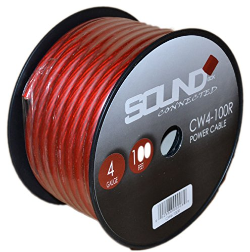 SoundBox Connected 4 Gauge Red Amplifier Amp Power/Ground Wire 100 Feet SuperFlex Cable 100