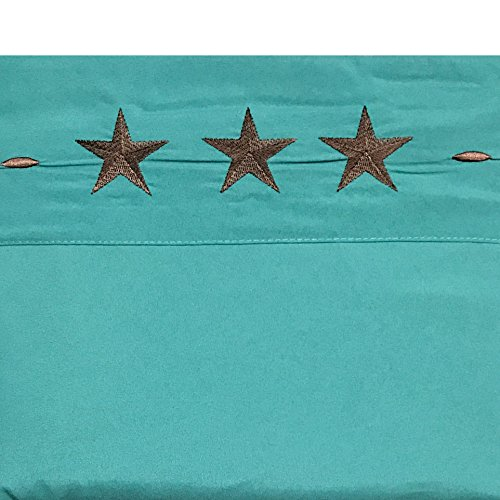 Western Peak Egyptian Comfort Bed Sheet Set Embriodery Star Pillow Case Brown Turquoise (King)