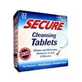 2 Packs of Secure Denture Adhesive Denture Cleanser - 32 Tablets