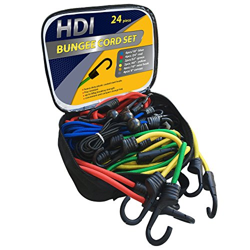 24 Piece Bungee Cord Assortment in Easy Store Bag By HDI, Heavy Duty Coated Steel Hooks with UV Resistant Braided