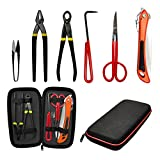 Voilamart Gardening Bonsai Tool Sets 6 Pieces Carbon Steel Garden Plant Trimming Kit Scissor Cutter Shear Heavy Duty Nylon Case Outdoor Entrenching Tools