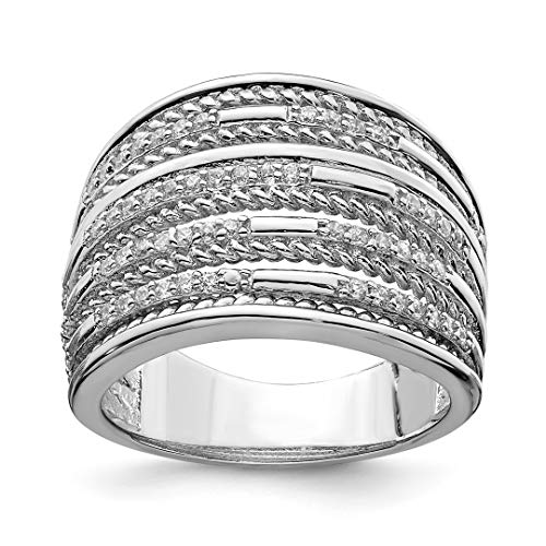 925 Sterling Silver Cubic Zirconia Cz Rope Multi Row Band Ring Size 7.00 Fine Jewelry For Women Gift Set -