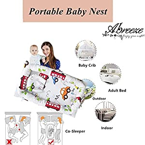 Abreeze Baby Bassinet for Bed -2PC Cars Vehicles Baby Lounger Including Pillow- Breathable & Hypoallergenic Co-Sleeping Baby Bed – 100% Cotton Portable Crib for Bedroom/Travel 0-24 Months