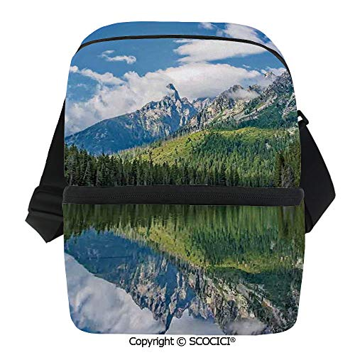 SCOCICI Cooler Bag Pure Mountain Lake Scenery with Trees and Cloudy Sky Nature Inspired Print Decorative Insulated Lunch Bag for Men Women for Kayak,Beach,Travel,Work,Picnic,Grocery