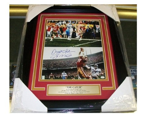 Joe Montana Dwight Clark The Catch Autographed Reprint Framed 8x10 Photo 49'ers - Autographed NFL Photos (Sports Photographs)