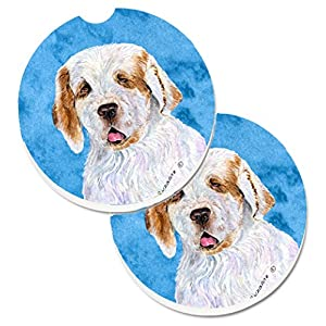 Caroline's Treasures SS4776-BUCARC Blue Clumber Spaniel Set of 2 Cup Holder Car Coasters, Large, multicolor 26