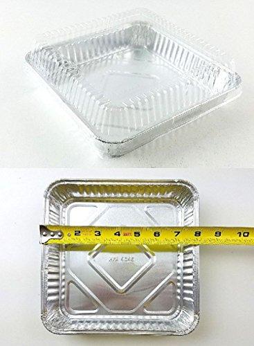 8 inch x 8 inch Square Aluminum Foil Cake Pan w/Dome Lid - Disposable Pans