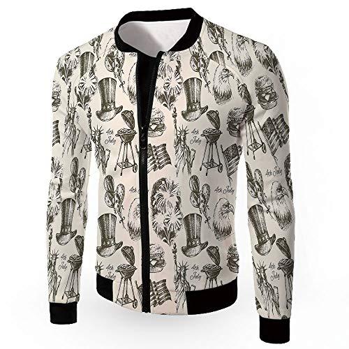 Men's Jackets,4th of July Decor,Zipper Sportswear Patchwork Long Sleeve Coat,AME