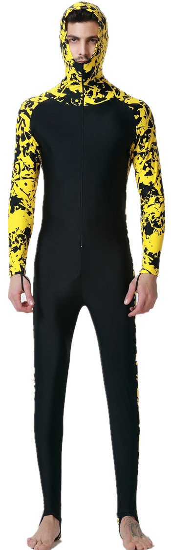 LANBAOSI Men's Wetsuit Sun Protection Full Body Hooeded One Piece Swimsuit X-Large Yellow