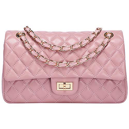 (Pifuren Women Shoulder Quilted Handbag Genuine Leather Chain Bag (S60 Pink))
