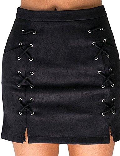 Rela Bota Women's High Waist Criss Cross Tight Bandage Suede Leather Mini Pencil Skirt X-Large Black ()