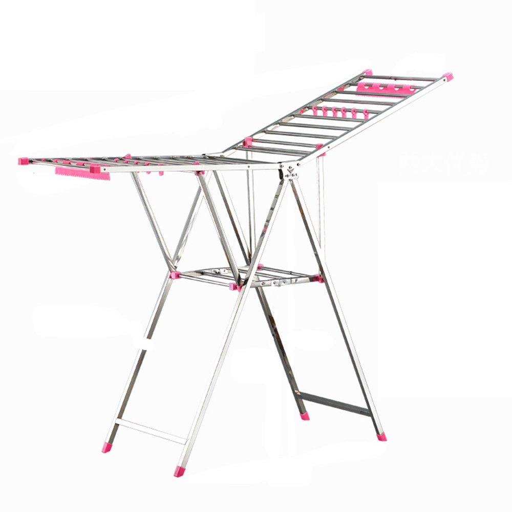 乾燥衣類ラック/おむつラック/床タオルラック/折り畳み式、多機能、ステンレススチール乾燥ラック (色 : Pink) B07HDQPW12 Pink