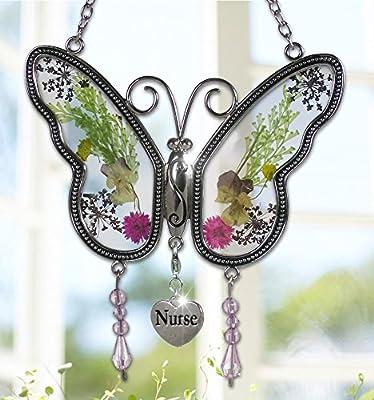 Nurse Butterfly Suncatcher - Pressed Flower Wings - Gifts for Nurses - Nurse Practitioners - Nurse Gifts - Nurse Graduation Gifts